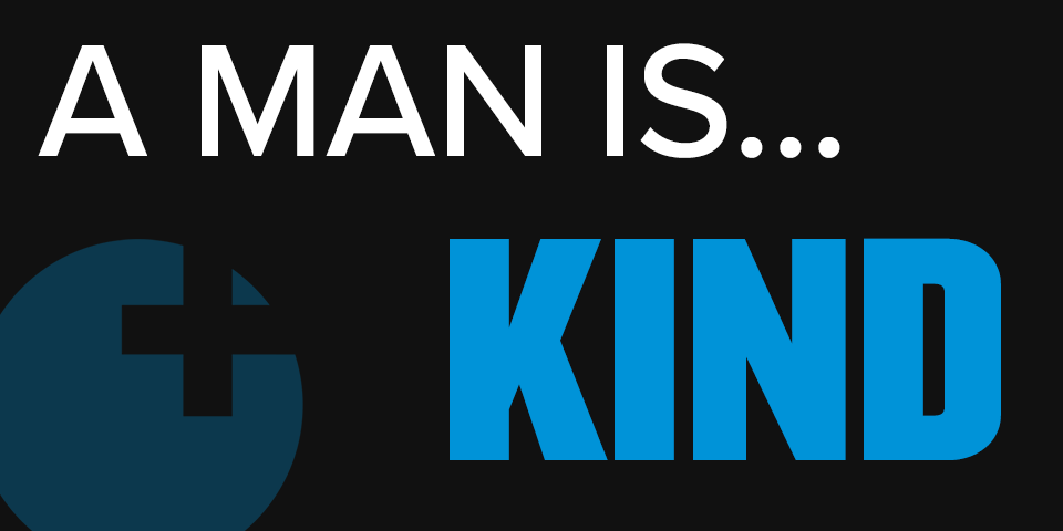 "text: ""a man is...kind"" in white and teal on black background with sex positive logo in left bottom corner"